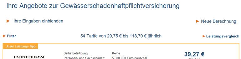 Gewässerschadenhaftpflicht Vergleichsrechner für vs vergleichen-und-sparen GmbH